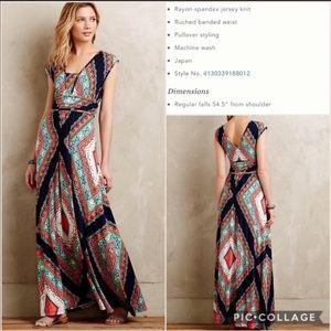 Anthropologie-Maeve-Verde Maxi Jersey Dress